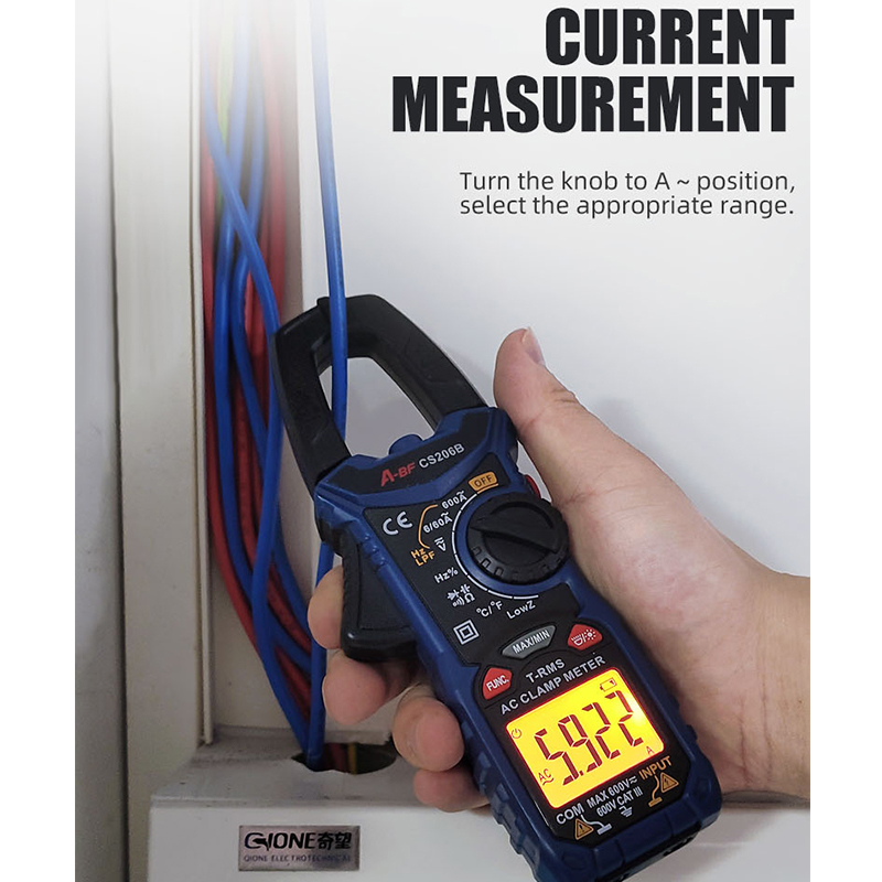 Tools : A-BF CS206B CS206D Digital Clamp Meter True RMS Auto Range Multimeter AC DC MAX MIN NCV Current Voltage Temp Capacitor Tester