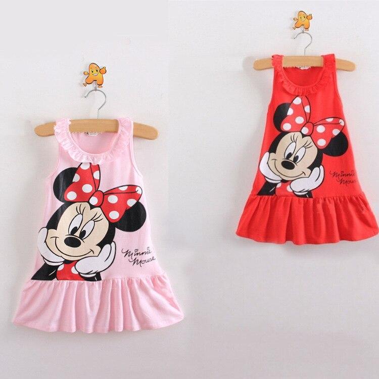 Summer Girls Dress Minne Kids Girls Clothes Cute Hello Kity Cartoon Pattern Baby Girl Princess Dress Kids Dresses For Girls