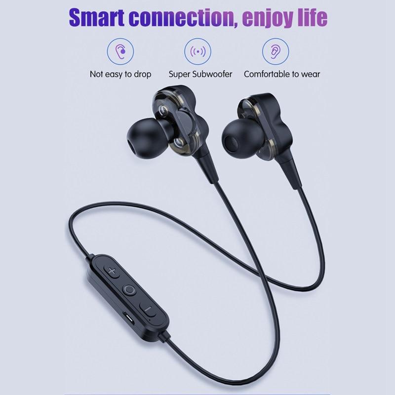 Four Speaker HiFi True Wireless Bluetooth Earphone Heavy Bass Music Earphones Neckband Headphones With Mic