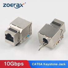 Zoerax cat6a snap-in blindado keystone jack, rj45 cat 6a ethernet módulo thunder-proof acopladores em linha