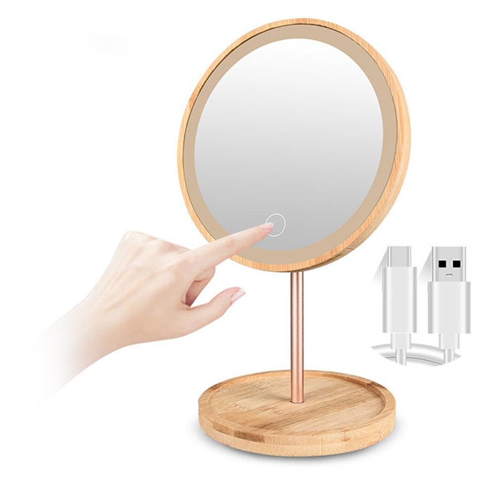Bamboo Wood USB LED Vanity Mirror Lights Vanity Lights