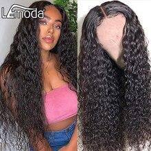 26 pouces dentelle fermeture perruque vague d'eau dentelle avant perruques de cheveux humains pour les femmes 4x4 pré plumé Lemoda brésilien cheveux perruque 150% densité