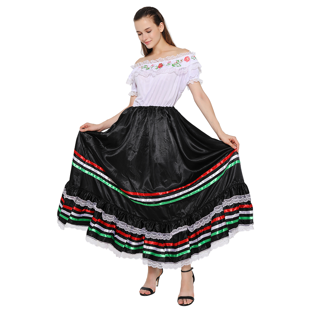 Snailify Traditional Women Mexican Senorita Costume Spanish Cosplay Western Halloween Costume For Adult