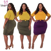 Suits Skirts Vacation 2piece-Sets Plus-Size Womens And Summer 5XL Outfits Tops Bodcyon