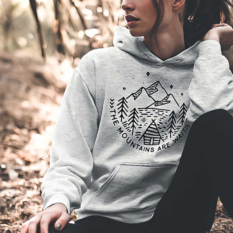 The Mountains Are Waiting Women Hoodies Autumn Winter Long Sleeve Graphic Sweatshirt Hooded Pullover 90s Streetwear Dropshipping