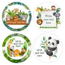 Dostosuj naklejki las dżungla naklejki napisz swoje imię Safari zwierząt dekoracja na przyjęcie z okazji urodzin etykieta do pakowania Baby Shower
