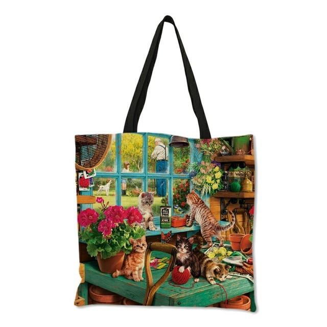 Oil Painting Cat Print Women Tote Bags Linen Reusable Shopping Bag Shoulder Bags for Women 2019  sac a main ladies handbags 4