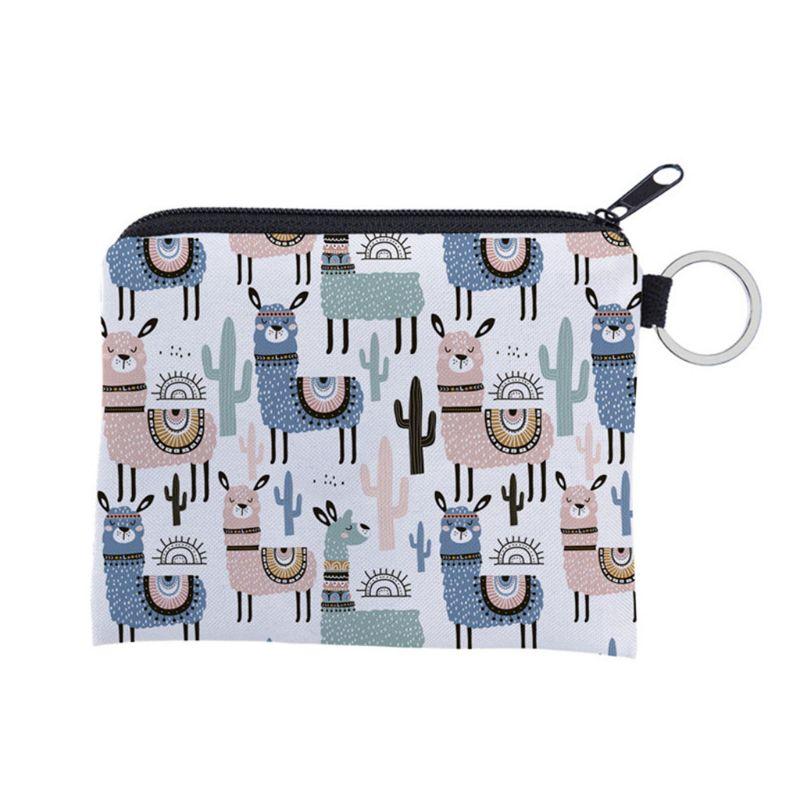 Unisex Cartoon Alpaca Pattern Coin Card Key Ring Wallet Pouch Mini Purse Zipper Small Change Bag F42A