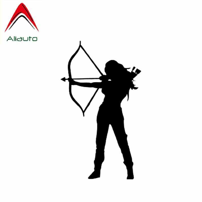 Aliauto personalidade clássico adesivo de carro tiro com arco de caça e flecha mulher guerreiro vinil antiuv decalque preto/prata, 9cm * 15cm
