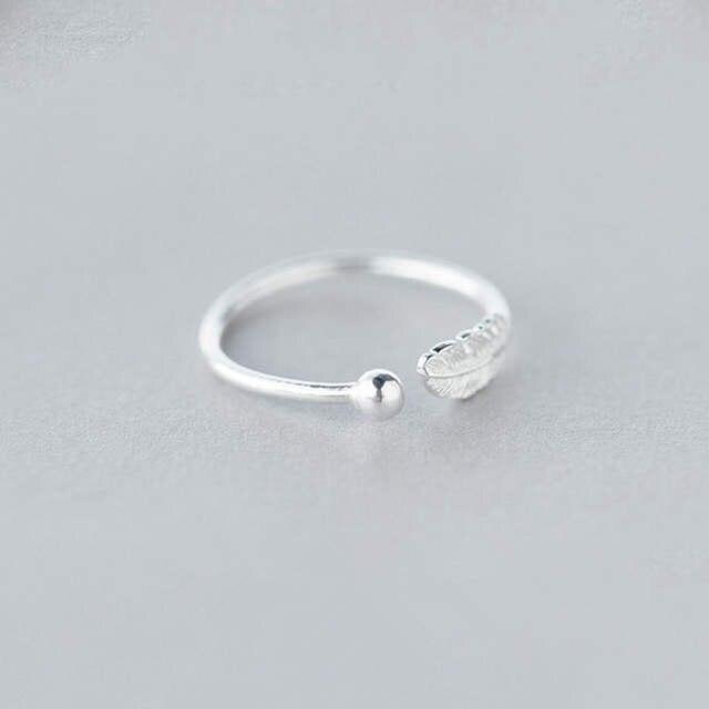 Luxe Vintage Punk 925 Sterling Zilver Eenvoudige Veer Ringen Voor Vrouwen Wedding Verklaring Vinger Ring Anillos Anelli Bijoux