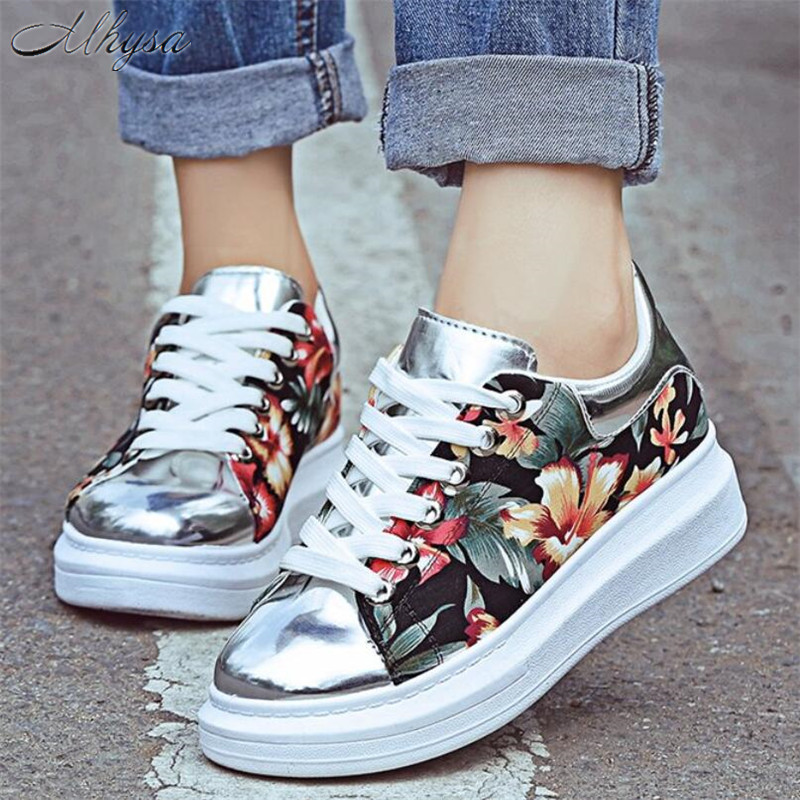 2020 Spring Women Casual Shoes New Women Sneakers Fashion Breathable PU Leather Platform Sneakers Women Shoes Zapatillas Mujer