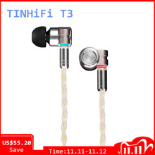 TinHIFI T3 1BA+1DD HIFI Hybrid Driver In Ear Earphone IEM Monitor Earphone Earbud with Gold plated OFC SPC MMCX Cable T4 P1 T2