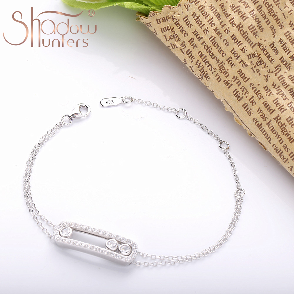 SHADOWHUNTERS Real 925 Sterling Silver Move Stone Bracelets With Clear CZ Luxury Brand Jewelry Making