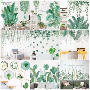 Green Leaves Wall Stickers for Home Bedroom Living Room Tropical Plants Wall Sticker Vinyl Wall Decals Door Murals Wallpaper