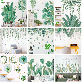 Green Leaves Wall Stickers for Home Bedroom Living Room Tropical Plants Wall Sticker Vinyl Wall Decals Door Murals Wallpaper plants wall stickers green leaves wall decals wall paper diy vinyl murals for bedroom living room kids room wall decoration