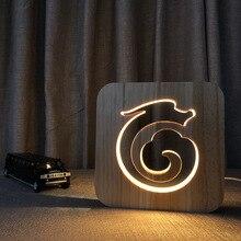 Dragon Totem Wood hollow Lamp 3D LED Night Light Indoor Desk  USB Lighting Decorative Nightlight Bedroom Tabel