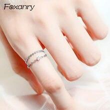 Foxanry 925 en argent Sterling Couples anneaux Terndy créatif à la main ouverture anneau pour les femmes élégant fête accessoires bijoux cadeau