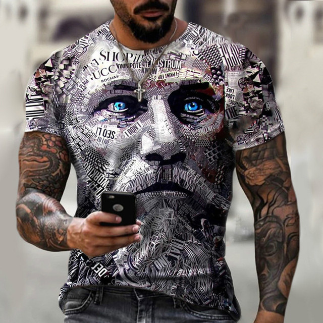 New style hot sale in 2021, 3D men's T-shirt, gentleman style design, short sleeves, summer fashion 5