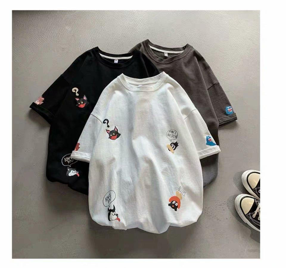 2020 Summer Fashion Men's T Shirt Cartoon Printing Round Collar Five Cent Sleeve T Shirt Street Attire Loose Sports T Shirt Mens