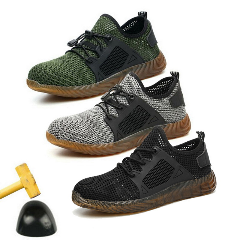 New 2019 Indestructible Ryder Safety Shoes for Men and Women with Steel Toe Cap Lightweight Breathable Work Shoes Puncture-Proof Work Sneakers