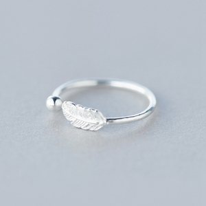 Image 5 - New 925 Sterling Silver simple leaf/cross ring female small fresh leaf rings adjustable forefinger fashion silver 925 jewelry