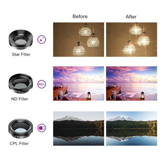 APEXEL New 6in1 Kit Camera Lens Photographer Mobile Phone Lenses Kit Macro Wide Angle Fish Eye CPL Filter For iphone Xiaomi mi9 5