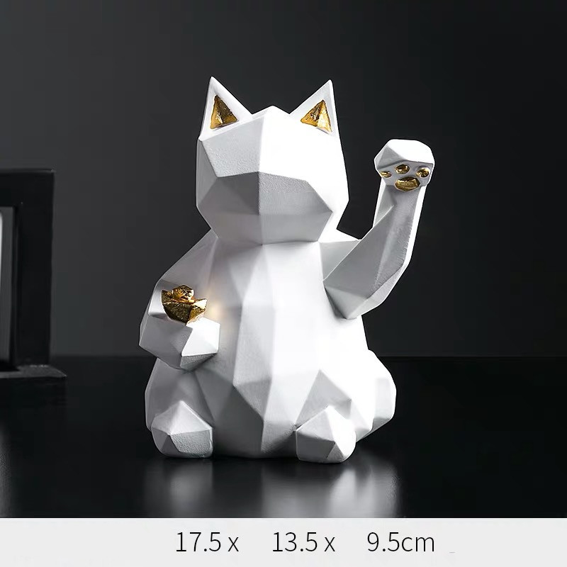 White Lucky Cat Decor Dog Sculptures Abstract Animal Figurines Geometric Surface Resin Statues Gift Present for Home Office Desktop Decor