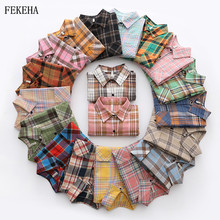 Print Shirt Blouses Tops Long-Sleeve Blusas Checked Womens Casual Cotton Autumn And Plaid