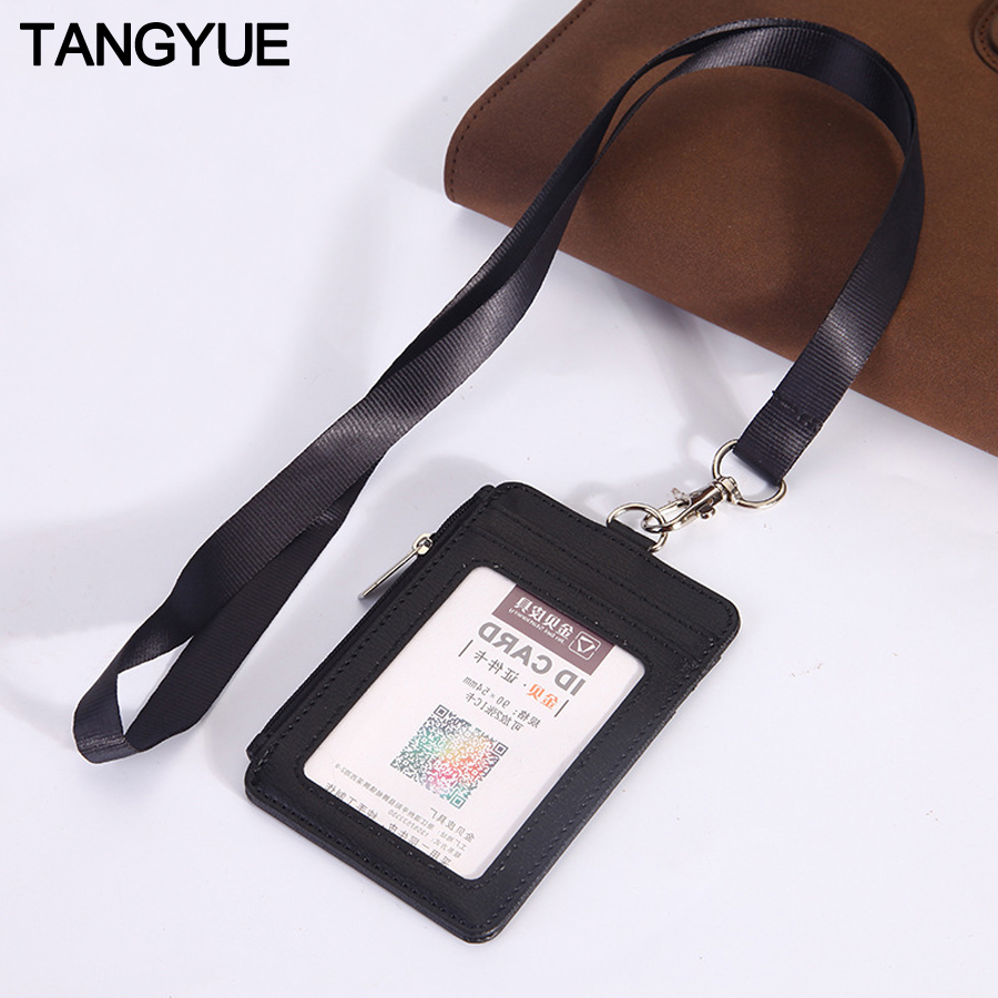 PU Leather Credit Card ID Badge Holder Bus Passes Zipper Case With Lanyard New