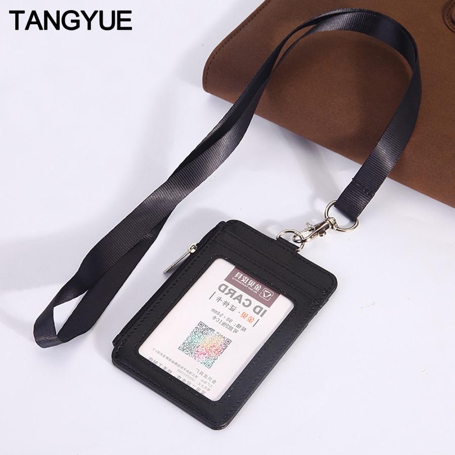 Lanyards ID Badge Holder Leather Porte Bus Pass Case Cover Slip Men Women's Bank Credit Card Holder Wallet Strap Coin Cardholder