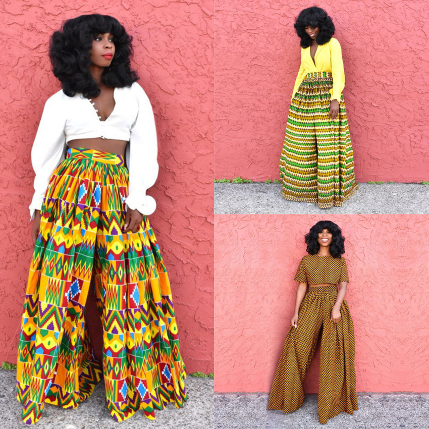 African 2020 News Ladies Clothes Dashiki Print Trousers Wide Legs Bazin Female High Waist Pants Ankara African Dresses For Women