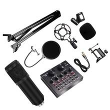 8 Teile/satz Bm 800 Mikrofon Kit Für Computer 7 Farben Mit V8 Soundkarte Professionnel Microfone Studio Microfono Condensador