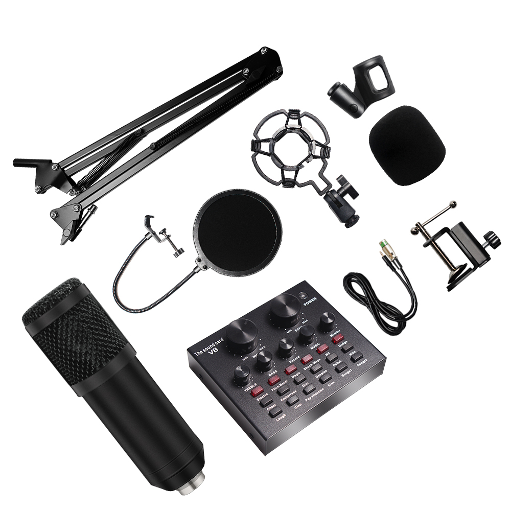 8Pcs set Bm 800 Microphone Kit For Computer 7 Colors With V8 Sound Card Professionnel Microfone Studio Microfono Condensador