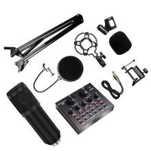 8 Pçs/set 7 Cores Com V8 Bm 800 Kit de Microfone Para Computador Placa de Som Microfone Condensador de Estúdio Microfono Professionnel