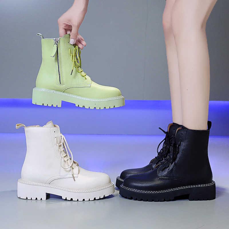 Kadın Ayakkabı 2019 Sonbahar Platformu Orta Buzağı Çizmeler Yüksek Top Sneakers Kadın Deri yarım çizmeler Kış Yüksek Topuklu Motosiklet Botları