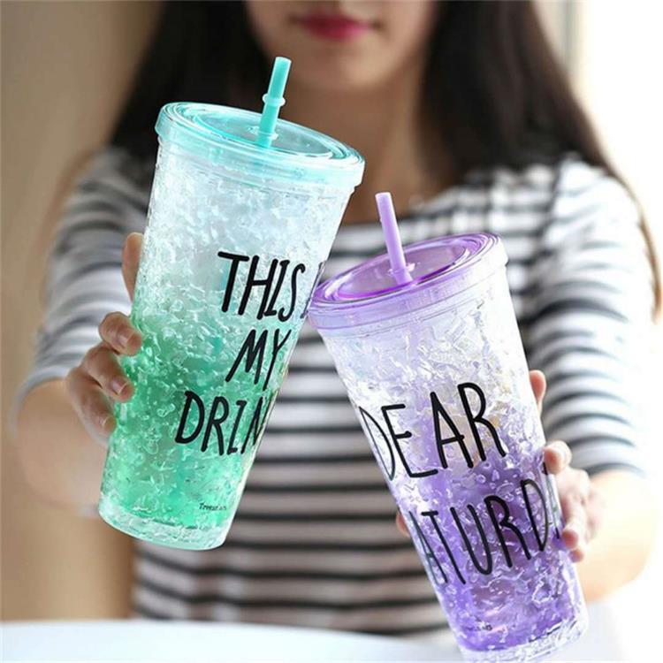 Spor ve Eğlence'ten Spor Şişeleri'de Özelleştirilebilir moda yaz günü 0 Degree buz kırma pipetli bardak plastik su bardağı yaratıcı yetişkin soğuk içecek buz kabı title=