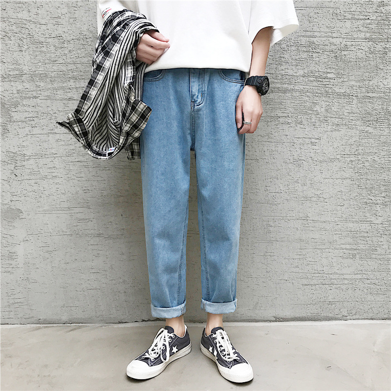 Summer Thin Section Hong Kong Style Straight-Cut Jeans Men Trend Loose-Fit Korean-style Wide-Leg Capri Pants Students Casual Pan