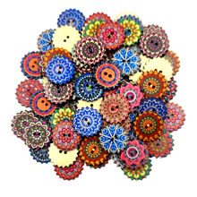 100x Bohemia Wooden Button Sewing Scrapbooking Costume DIY Decor Craft 20/25mm