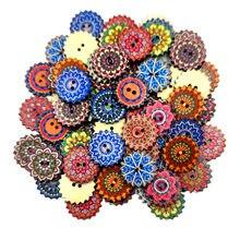 Boutons en bois style bohémien, 100 pièces, couture, Costume, Scrapbooking, décor artisanal, bricolage, 20/25mm