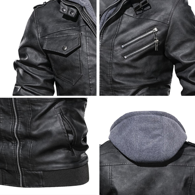 New Mens Outwear Bomber Vintage Autumn Black PU Leather Casual Jacket Slim Fit Motorcycle Biker Coats Removable Hood 6