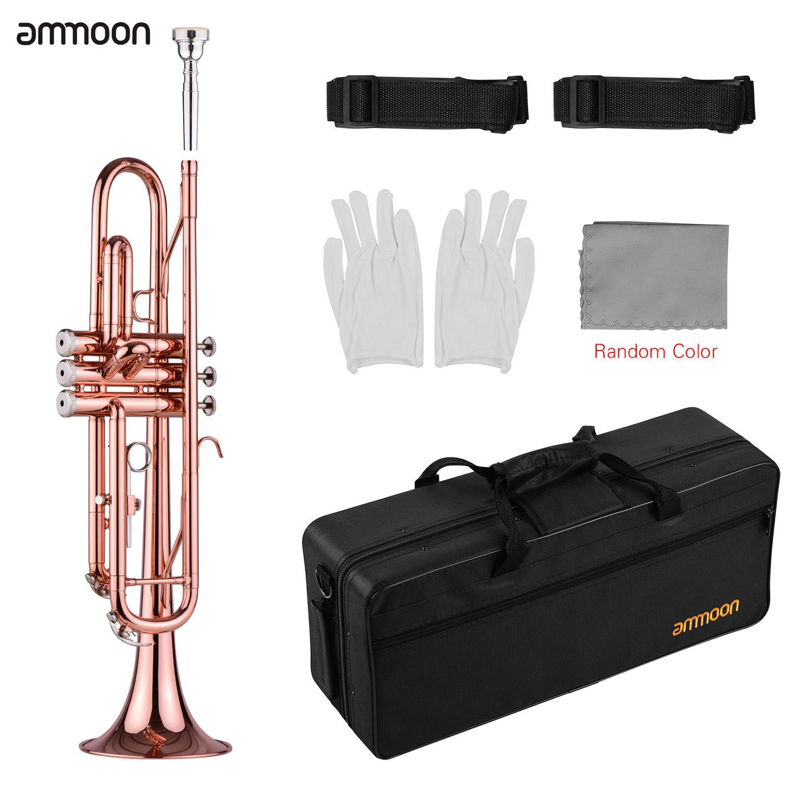 Ammoon TR-180 Стандартный Bb медной трубы с Жесткий Чехол ремни Мундштук перчатки, Чистящая салфетка для студентов начинающих
