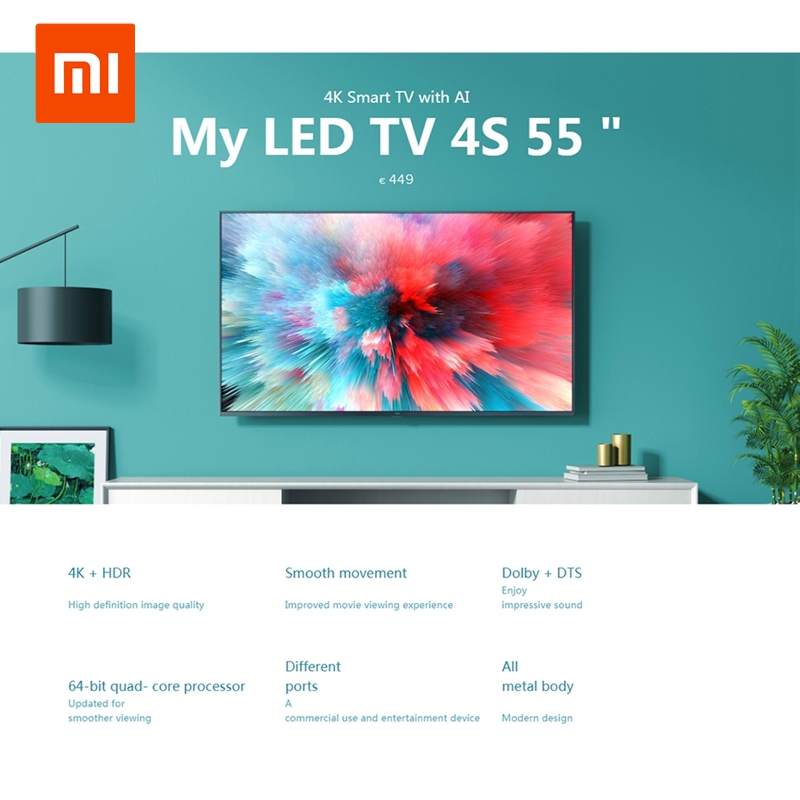 Xiaomi Mi TV 4K HDR 4S AI 32/43 55 Inch Smart TV Android 9.0 2GB 8GB Voice Control 5G WIFI bluetooth 4.2 UHD Television European image