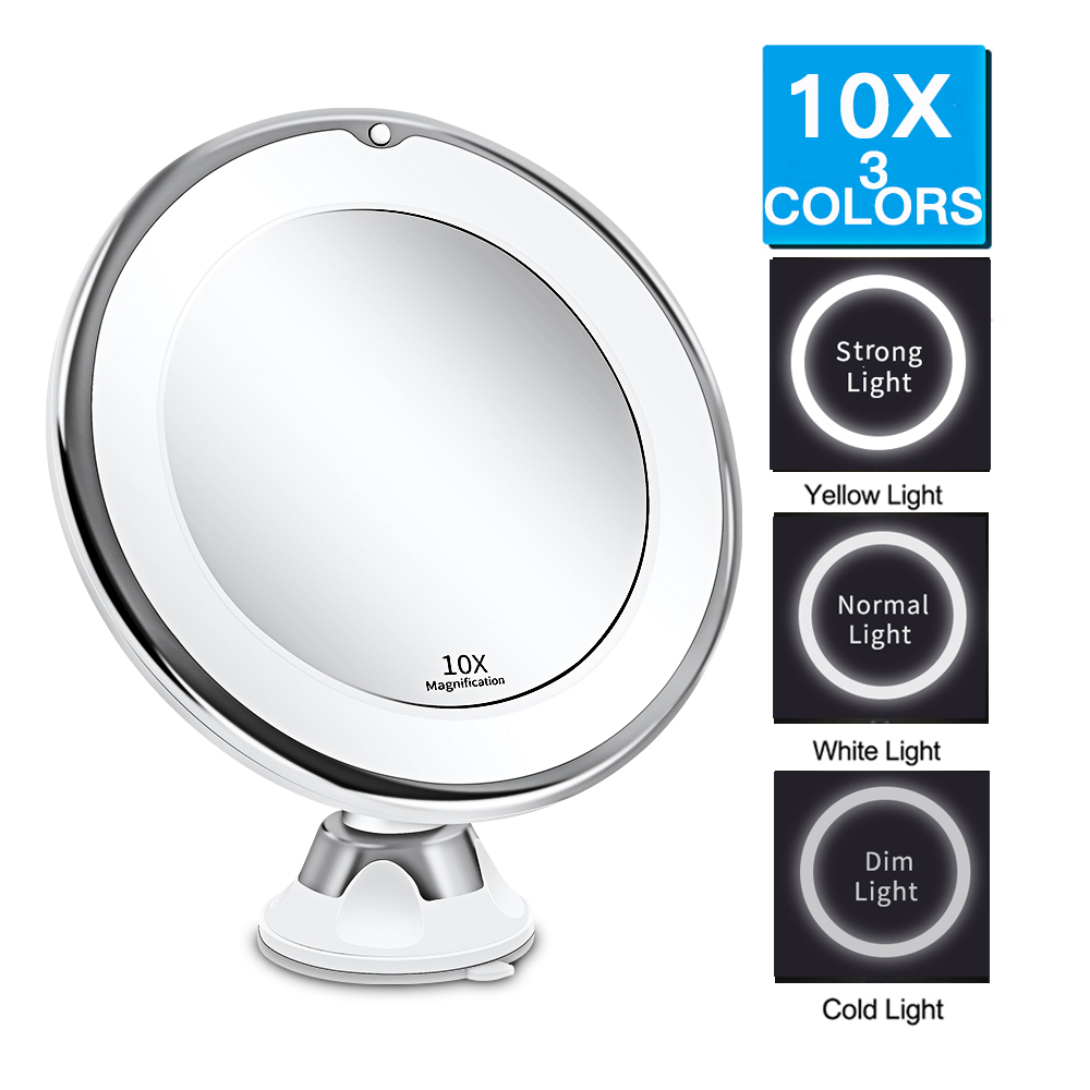 3 Colors Lighted 10X Magnifying LED Makeup Mirror Flexible Vanity Mirror With Light LED Mirror With Light VIP Dropshipping