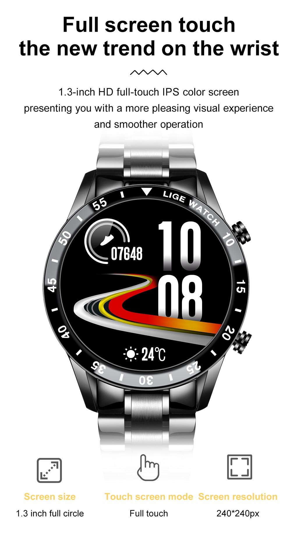 Hdca61a6264484d828c283ba631f7d198K LIGE 2021 Full circle touch screen steel Band luxury Bluetooth call Men smart watch Waterproof Sport Activity fitness watch+box