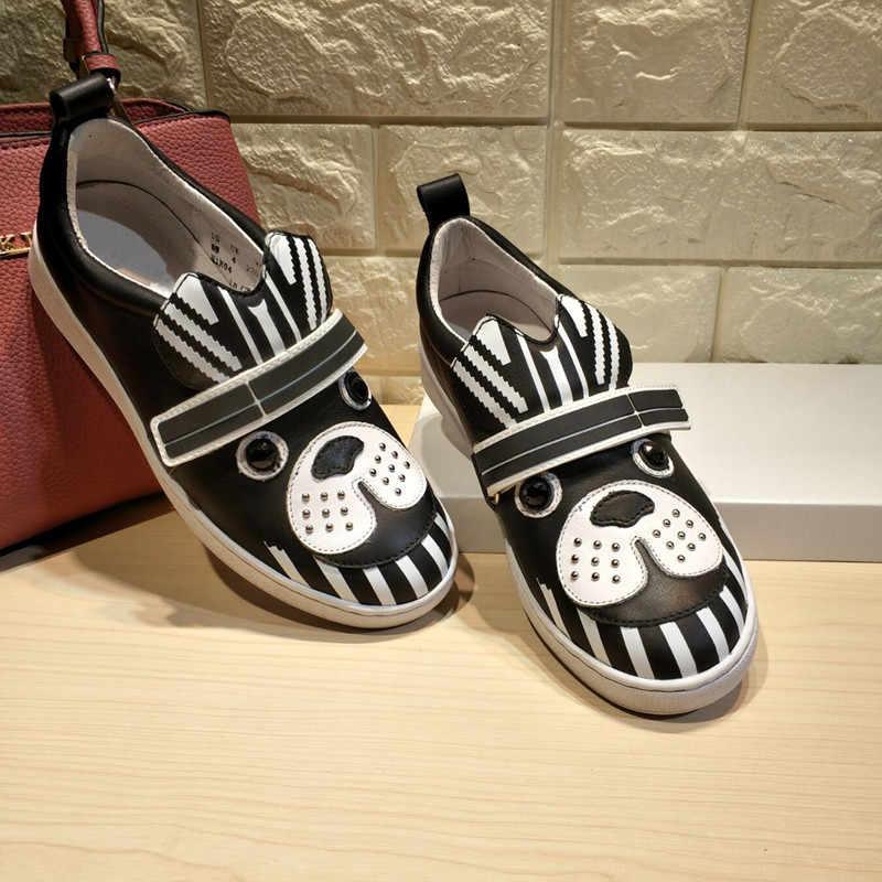 Chic Scarpe Piane Delle Donne di Autunno Mocassini di Cuoio Delle Donne Schoenen Vrouw Animale Sveglio Buty Damskie Scivolare su Scarpe da Donna Zapatos De mujer