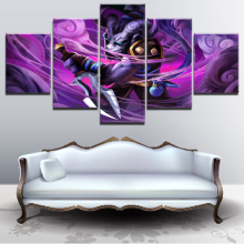 Wall Art Canvas Game Pictures For Living Room 5 Pieces Creature Dagger DotA 2 Riki Warrior Painting Home Decor Modular Poster