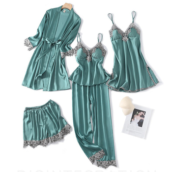 Sexy Kimono Robe Gown Women 5PCS Nighty&Robe Suit Sleepwear Satin Nightgown Nightdress Silky Home Clothes Intimate Lingerie summer women nightgown print sleepwear night bath dress gown satin sleep shirt sexy nightshirt home clothes intimate lingerie