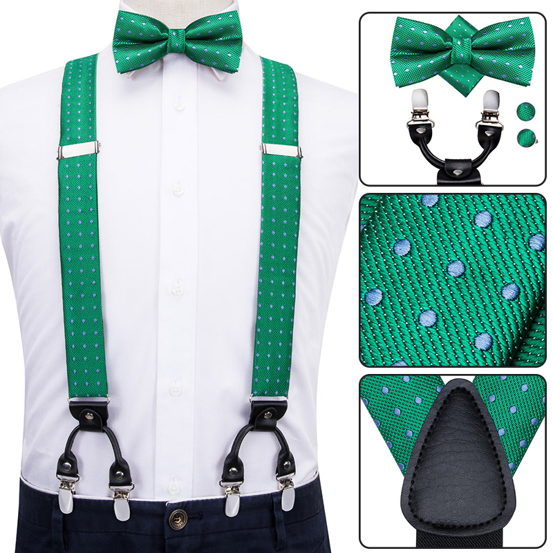 BD-3009 Hi-Tie Adult Men's Suspenders Bow Tie Set Fashion Green Dots Suspenders For Men Elastic 6 Metal Clips Suspenders Braces