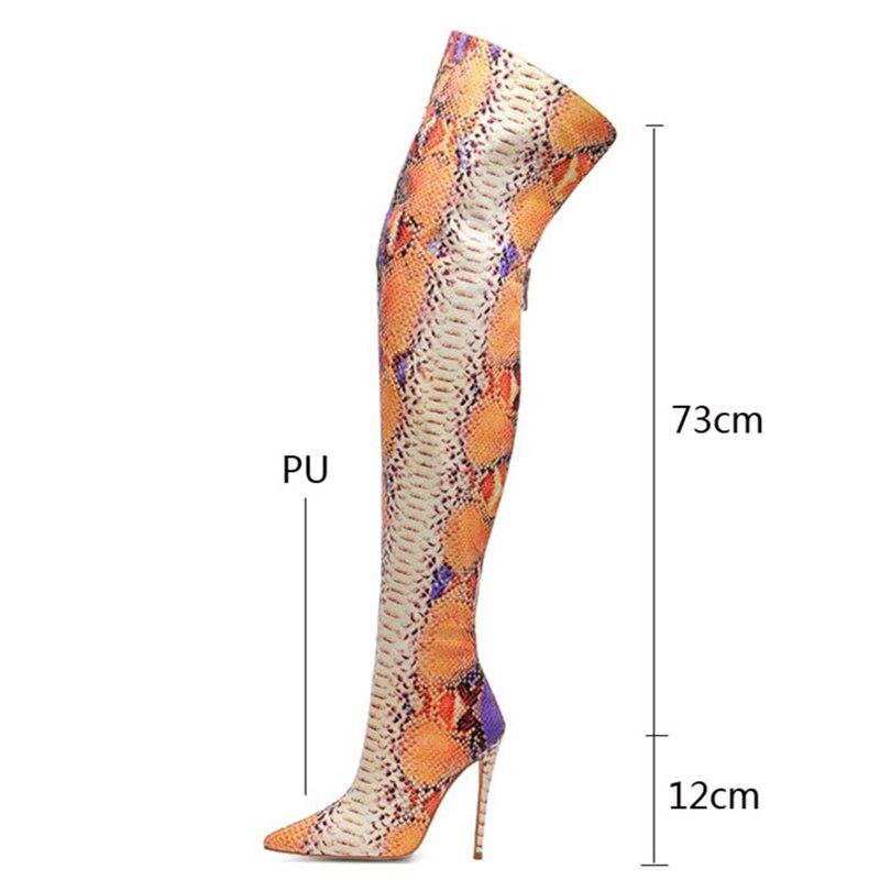 Coexist Almond Toe Over The Knee Hidden Platform Stiletto High Heel Boots