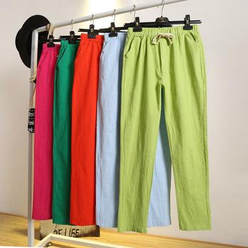 Damskie spodnie wiosenne letnie Harem Cotton Linen jednolita elastyczna talia cukierkowe kolory spodnie haremowe miękkie wysokiej jakości dla kobiet ladys tanie i dobre opinie Bawełniana Pościel Kostki długości spodnie Stałe Na co dzień Harem spodnie Mieszkanie REGULAR Skrzydeł Suknem Sznurek